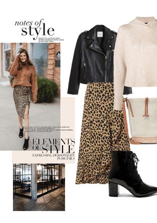 leopard print & leatherjacket