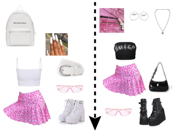 white and pink vs black and pink