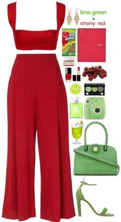 Lime green and cherry red