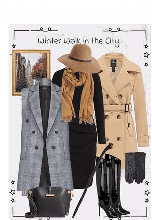 Full Length Vest Over Black Knit Dress With Wool Overcoat