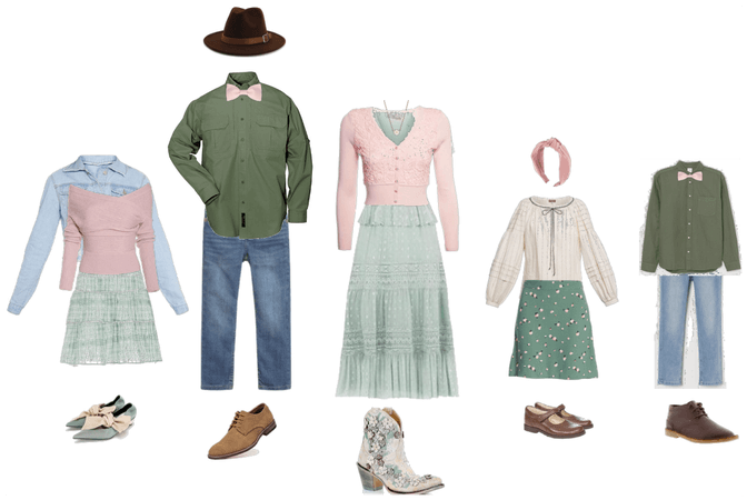 Family portraits blush pink and seafoam green