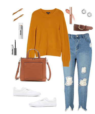 Casual Ochre Sweater with Jeans and White Sneakers