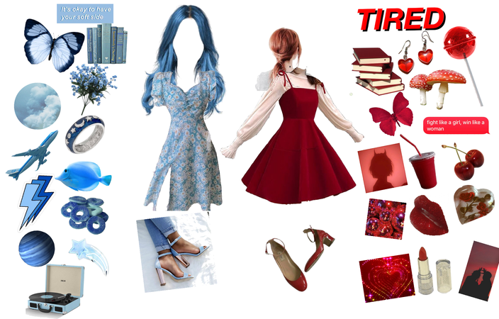 blue & red aesthetic 💙❤️