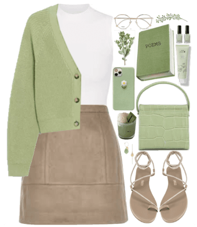 Cardigan + green