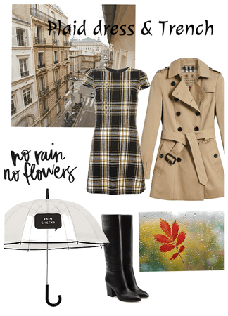 Plaid dress with Trench and any boots