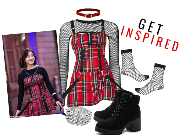 Red Plaid Dress Look