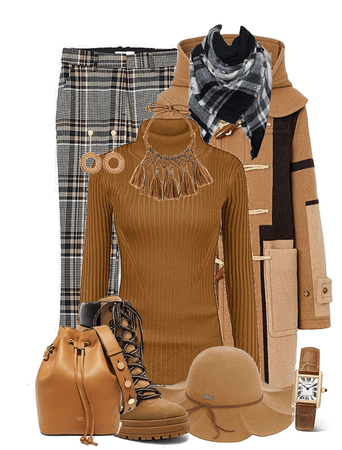 tan & black outfit one
