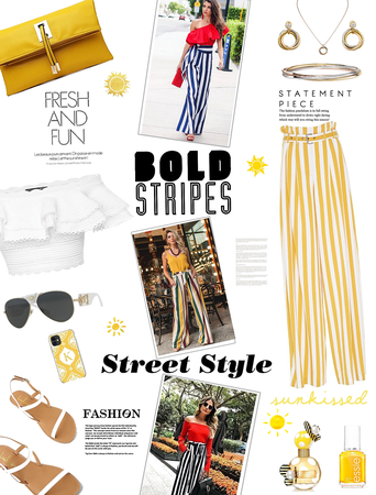 street style. gold stripes