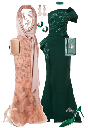 Pine green and Peach pink