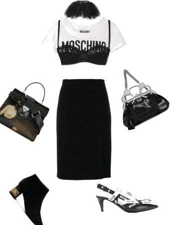 Black and White Moschino Look