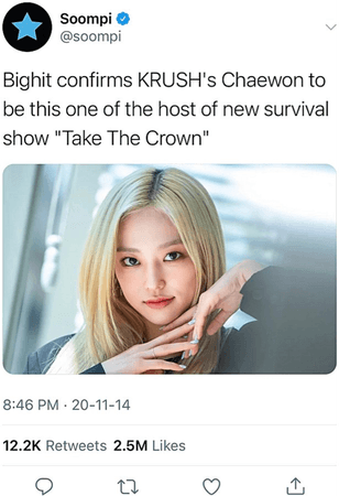 KRUSH Twitter Soompi Post