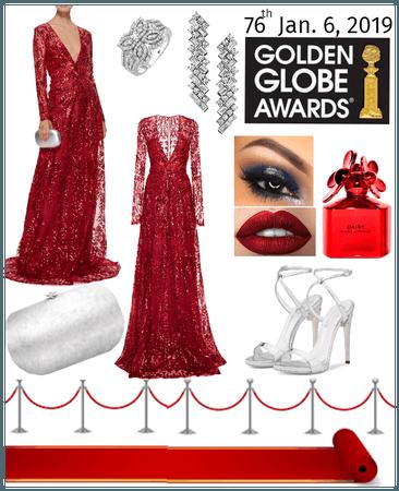 Golden Globes Celebration in Red, Silver & Diamond