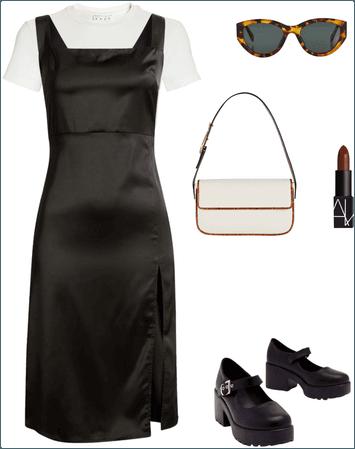 white tee black dress