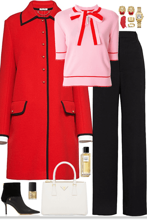elegance look with chic red coat & gold jewelry