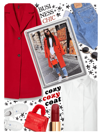 cozy, cozy red coat