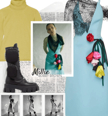 Millie Bobby Brown wearing Prada and Max Mara