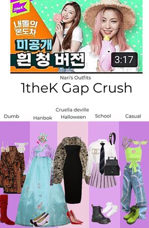 1theK Gap Crush Naris outfits
