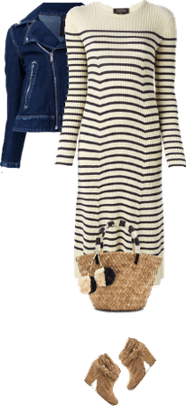 Casual outfit: Denim - Beige