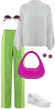 green purple white outfit