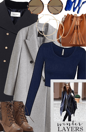 Winter Layers: Brown, blue, and grey