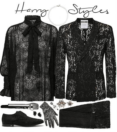 Black Version of Harry Styles BRITs 2020 Lace Suit
