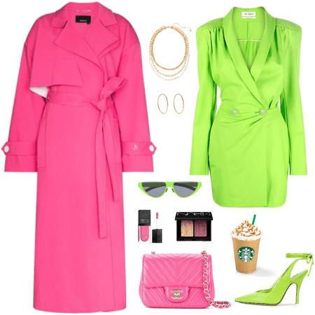 neon light green and Barbie pink