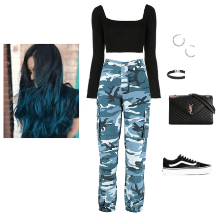 Blue camo, teal hair