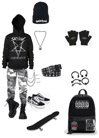 Skater emo gothic outfit