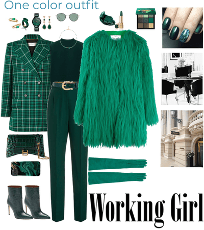 one colour outfit - emerald green