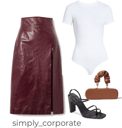 leather skirt look