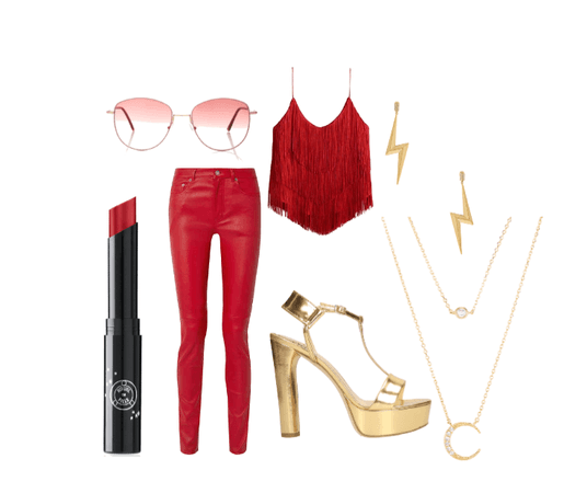 Red_Gold Leather Outfit