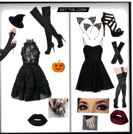 Halloween to cute witch and kitty outfit.
