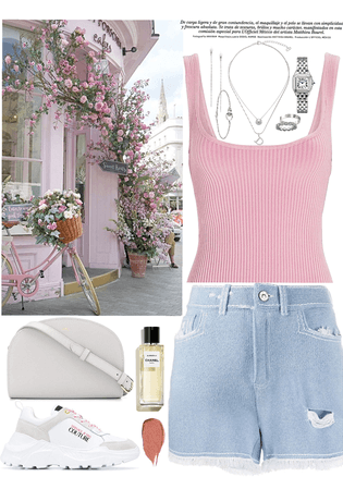 pink top, denim short & silver jewelry look