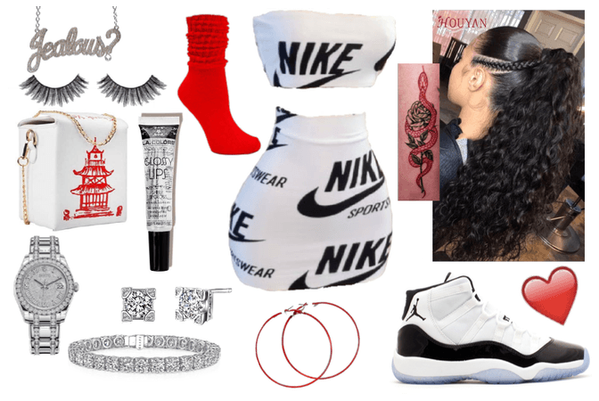 red and white baddie outfit