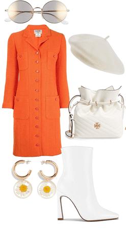 orange coat goes perfect with white!!