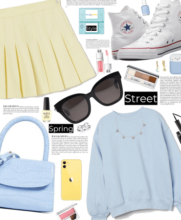 spring street style - yellow and blue 💛💙