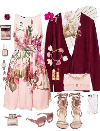 Blush Pink Floral Rose Gold