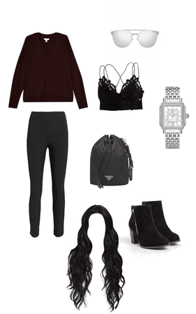 burgundy sweater and black pants winter outfit