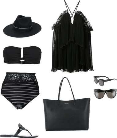 All black chic beach outfit
