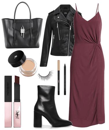 burgandy + leather