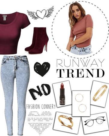 burgundy & jeans