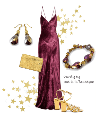 Formal Burgundy Gold outfit