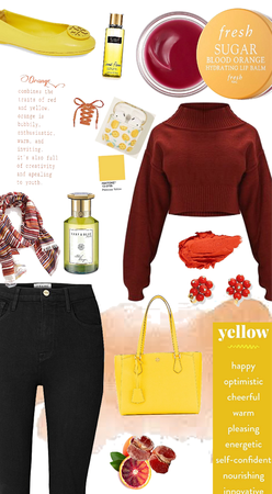 Blood orange with a hint of yellow
