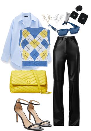 leather pant | knit vest
