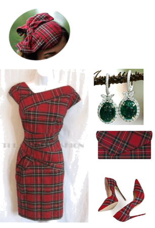 Red Plaid Outfit/w Fascinator