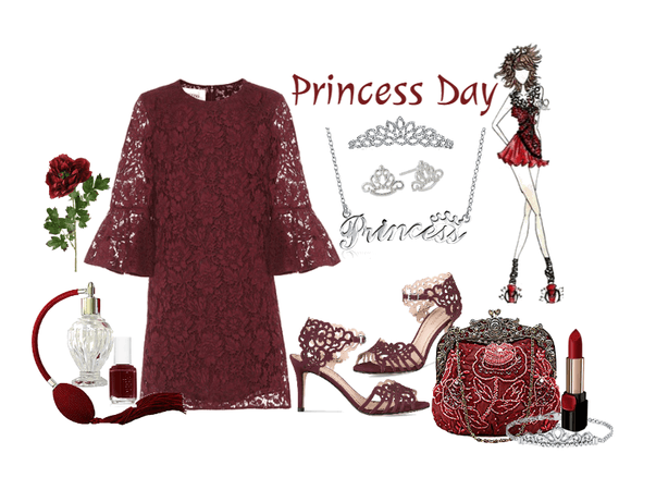 Royal Burgundy Lace Dress for a Princess