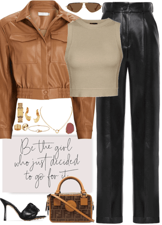 cool outfit with brown leather jacket & gold jewelry