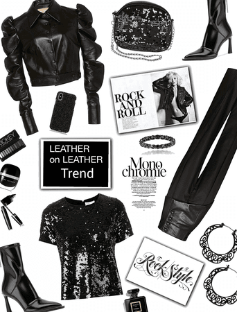 leather on leather/ monochrome black