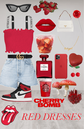 red cherry strawberry outfit