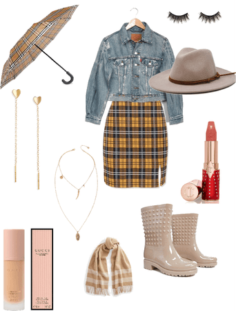 plaid and cream rainy day outfit